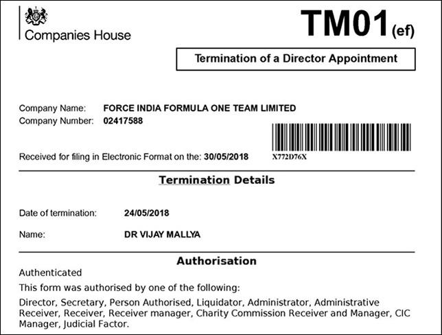 Виджей Малья оставил пост директора Force India