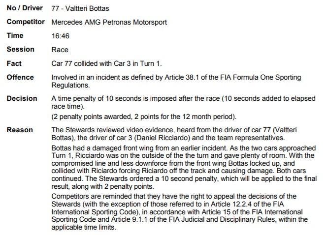 Валттери Боттас получил штраф за столкновение с Риккардо