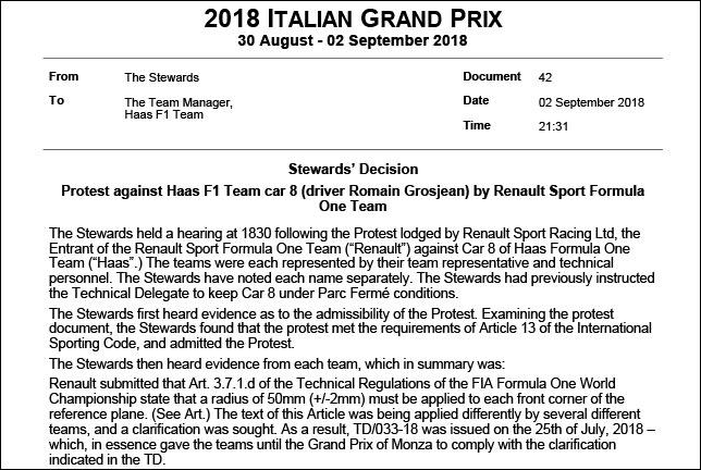 Стюарды объяснили дисквалификацию машины Haas