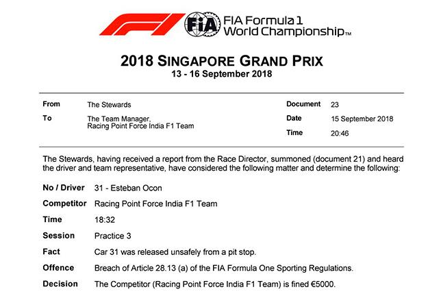 Force India оштрафована на 5 тысяч евро