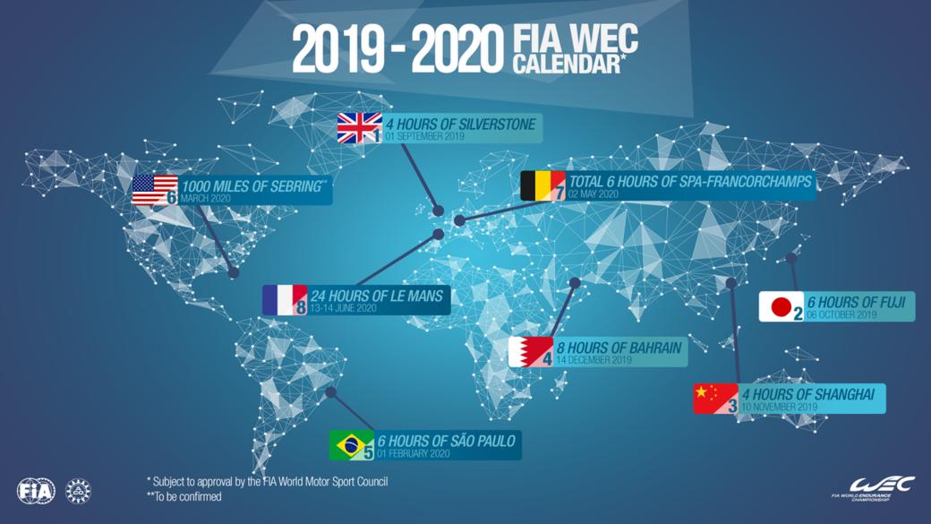 Опубликован финальный календарь WEC на сезон 2019-2020 годов