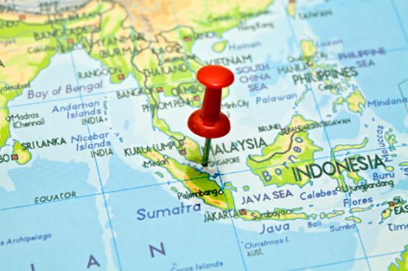 Сингапур на карте Юго-Восточной Азии