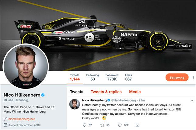 Хюлкенберг вернул контроль над аккаунтом в твиттере