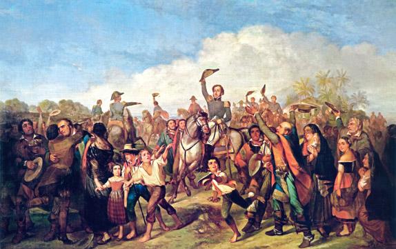 Картина Франсуа-Рене Моро, изображающее провозглашение независимости Бразилии Педру I