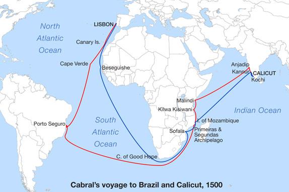 Маршрут путешествия Кабрала