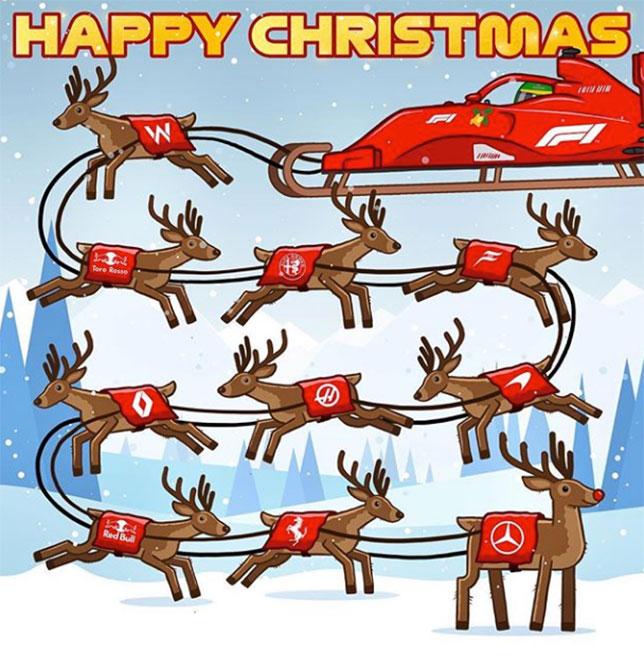 Рождественская открытка от Формулы 1
