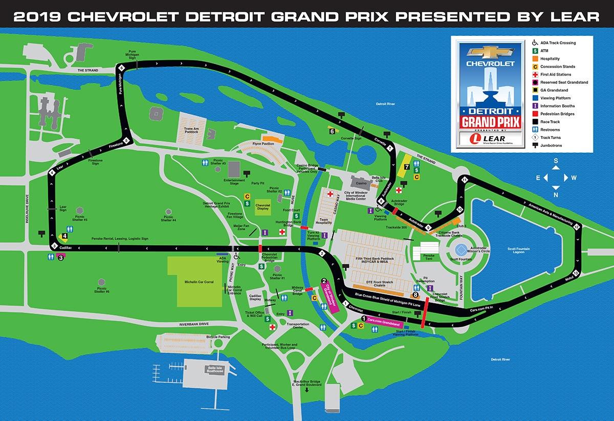 Круг по трассе Гран-при Детройта от первого лица