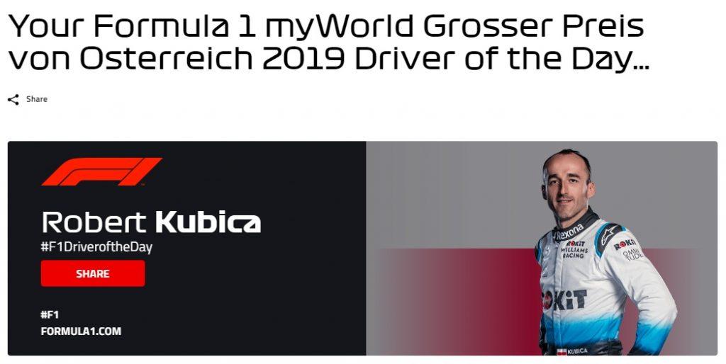 В Ф1 расследуют, как Кубица смог стать гонщиком дня по итогам Гран-при Австрии