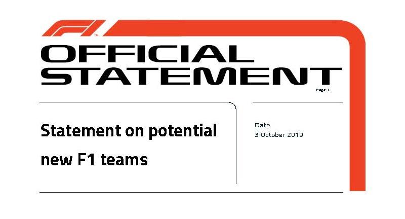 В Ф1 опровергли информацию о возможном приходе новых команд в сезоне-2021