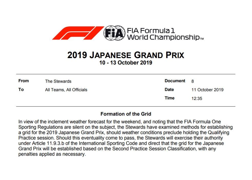 Стартовая решётка Гран-при Японии может быть сформирована по итогам второй тренировки