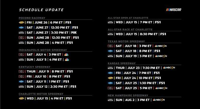 НАСКАР объявил расписание гонок национальных серий на июль