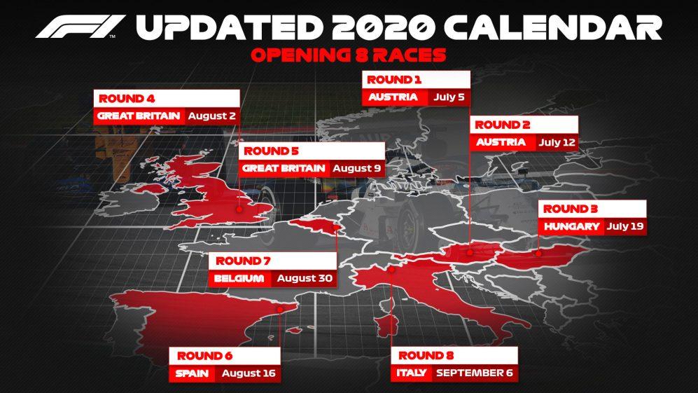ОФИЦИАЛЬНО: Сезон Ф1 начнётся с двух гонок в Австрии, каждый из стартовых восьми этапов примет Ф2 и Ф3!