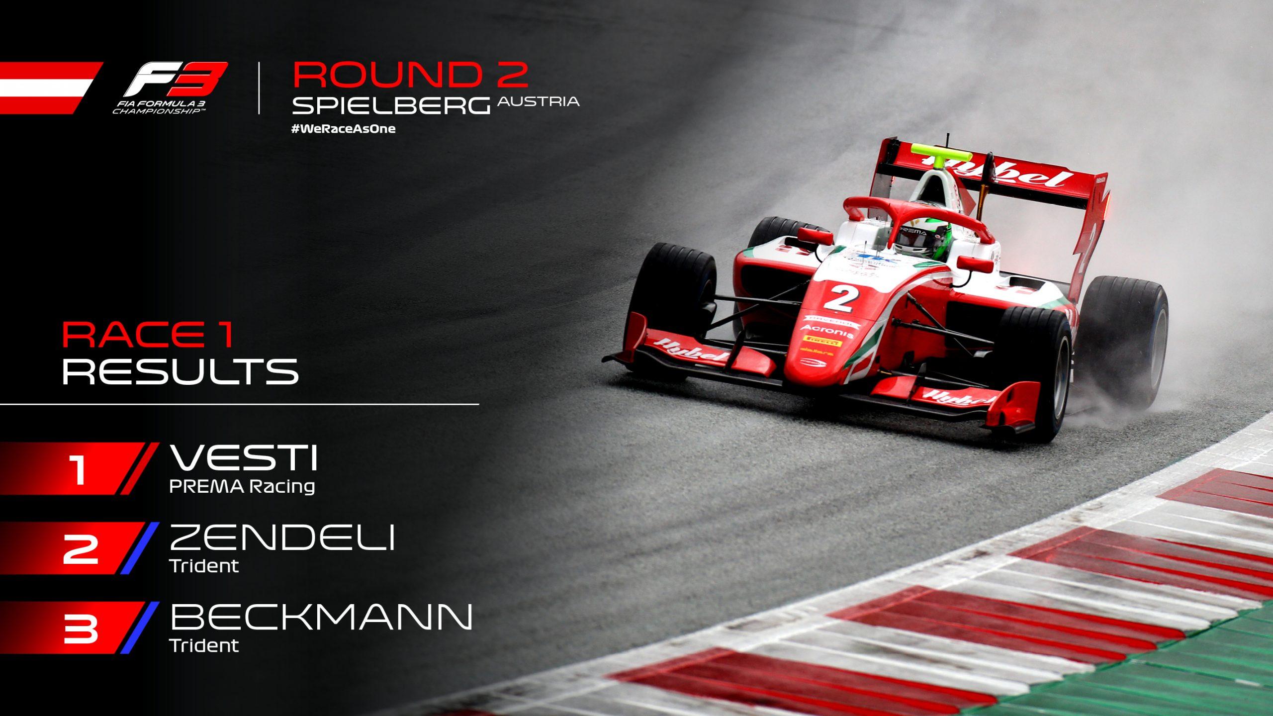 Вести выиграл дождевую первую гонку второго этапа Ф3 в Австрии