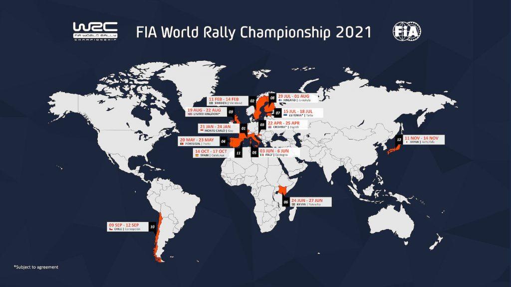 Опубликован календарь Чемпионата мира по ралли для 2021 года